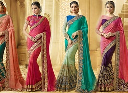 Half Sarees Designs: Latest mix n match style  Designer Blouse & Embroidered plain saree set online.
