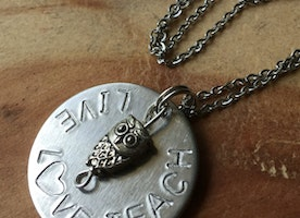 Owl charm teacher necklace