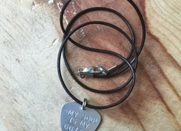 Custom silver guitar pick necklace