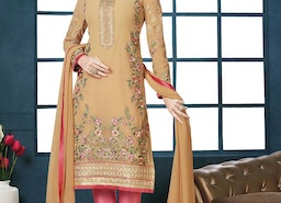 DILETTANTE EMBROIDERED WORK FAUX GEORGETTE BEIGE AND PINK PANT STYLE CLASSIC SUIT