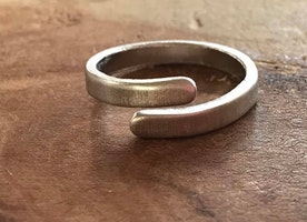 Silver skinny wrap ring