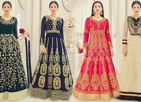 Party Wear Gown Dress: Long Sleeved Designer Gowns for Wedding and Engagement Online India Low Price