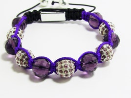 Purple Agate Natural Stone Disco Ball Shambhalla Bracelet