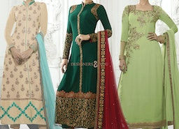 Amiable Green Embroidered Pakistani Style Dress With Jewel Neck