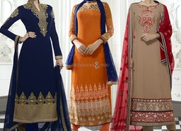 Appealing Orange Pakistani Style Suit It Is Embellished With Sweetheart Neck