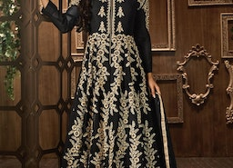 MOUNI ROY BLACK LONG LENGTH DESIGNER BOLLYWOOD SUIT FOR CEREMONIAL