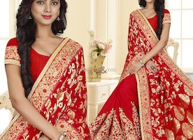 Appealing Red Designer Saree For Wedding Party With Scoop Neck