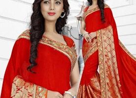 Attention-Grabbing Red Queen Neckline South Indian Wedding Saree Design