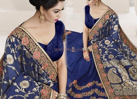 Breathtaking Blue Designer Wedding Saree With Sweetheart Neckline