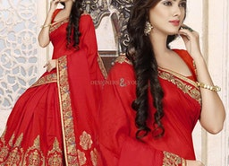 Comely Red Saree For Engagement With Short Sleeve And Empire Neck