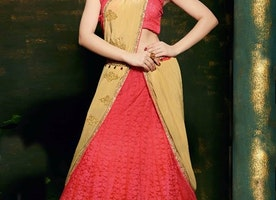 IMPECCABLE RED AND CREAM COLOR LEHENGA SAREE