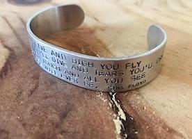 Custom wide cuff with lyrics