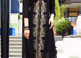 Pretty Three Four Sleeved Black Stylish Kurti Designed With V Neck