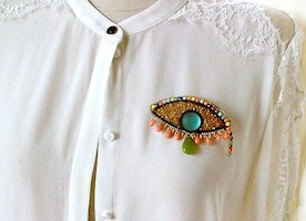evil eye vibrant unique pearl brooch
