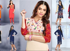 Women's Designer kurtis Latest designs: Long Georgette Kurti & Chiffon Top with Stylish Neck Patterns