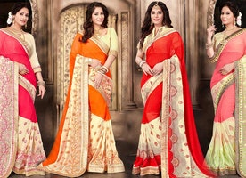 Fancy Designer Georgette Saree Blouse Designs: New Modern & Trendy Party Wear Sarees Draping Style