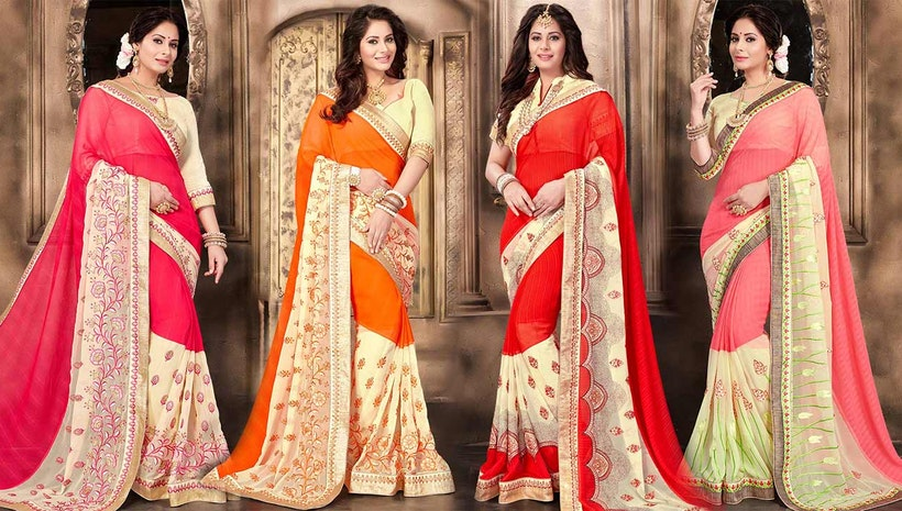d51ee5f9467f4 Fancy Designer Georgette Saree Blouse Designs  New Modern   Trendy Party  Wear Sarees Draping Style