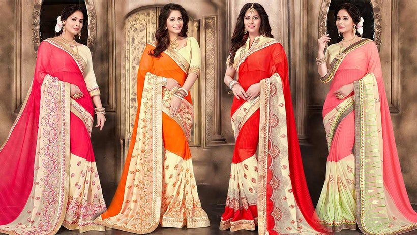 ee49c46760 Fancy Designer Georgette Saree Blouse Designs: New Modern & Trendy Party  Wear Sarees Draping Style