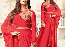 Eye-Catching Embroidered Red Chiffon Dress With Full Sleeves