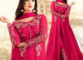 Posh Pink Dress Embellished With Full Sleeves V-Neck & Lace Work