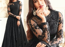 Smart Black Embroidered Dress With Full Sleeves & Jewel Neck