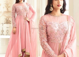 Striking Full Sleeved Embroidered Pink Georgette Dress With Lace