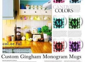 Gingham Monogram Mugs