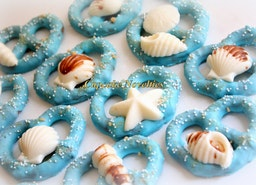 Under the Sea Birthday Baby Shower Bridal Shower Seashell Chocolate Dipped Pretzels Cookie Edible Favor Ocean Beach Wedding Mermaid Birthday