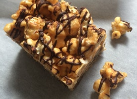 Chocolate Chip Cookie Bars with Caramel, Popcorn + Seasalt