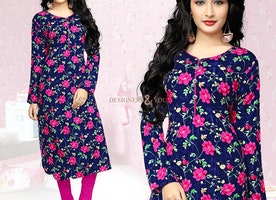 Astonishing Blue Printed Long Kurti With Full Sleeve And V-Neck
