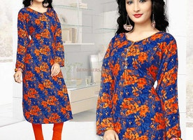 Breathtaking Full Sleeved Kurti With Princess Cut Style & Piping