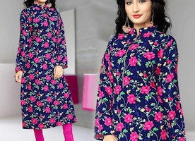 Divine Full Sleeved Kurti Near To Floor Touch With Turtle Neck