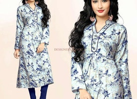 Irresistible Cream Printed Kurti With Stand Collar & Full Sleeves