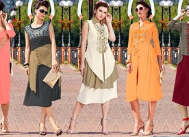 Green Georgette Party Wear Kurta With Double Layer Front Open Slit