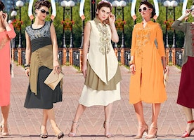 Green Georgette Top With Trendy 3 4 Sleeves & High Neck For Party