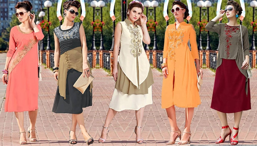 Peach Stylish Lace Worked Party Wear Tunic In Georgette For Ladies
