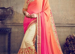 FAUX GEORGETTE CREAM AND ORANGE HALF N HALF SAREE FOR FESTIVAL