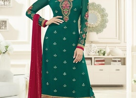 FAUX GEORGETTE BOOTI WORK PANT STYLE PAKISTANI SUIT