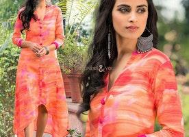 Marvelous Orange Knee Length Long Stylish Digital Printed Kurti