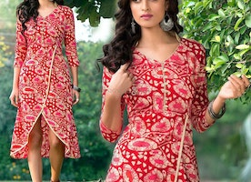Matchless Red Modern Style Kurti In Cotton With Stand Collar