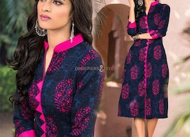 Modernistic Blue Straight Cut Tailor-Made Kurti With High Neck