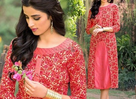 Jazzy Red Designer C- Cut Kurti With Natural Color Floral Print