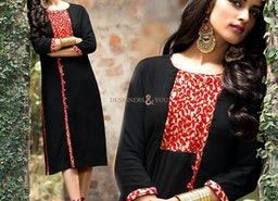 Girls Black Stylish Kurta With Leaves Print To Pair Jeans Pant