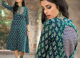 Blue & Green Fancy Kurta With Buds & Leaves Print To Team Palazzo