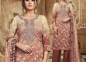 Boutique Style Brown Cotton Ladies Punjabi Suit With 3 4th Sleeves