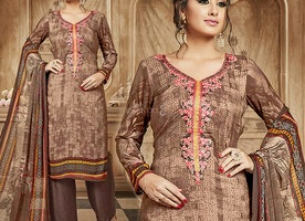 Contemporary Digital Print Design Suit Punjabi Style With V-Neck