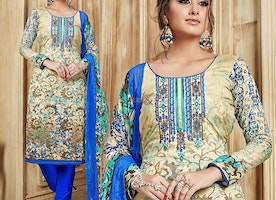 Women's Aline Embroidered Multicolor Punjabi Dress With Lace Work