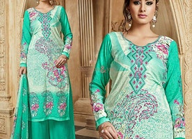 Green Sweetheart Necked Embroidered Punjabi Palazzo Salwar Kameez