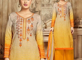 Yellow A- Shaped Sheath Style Cotton Punjabi Salwar Suit Model
