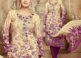 Ladies Cream Printed Salwar Suit In Cotton With Floral Embroidery